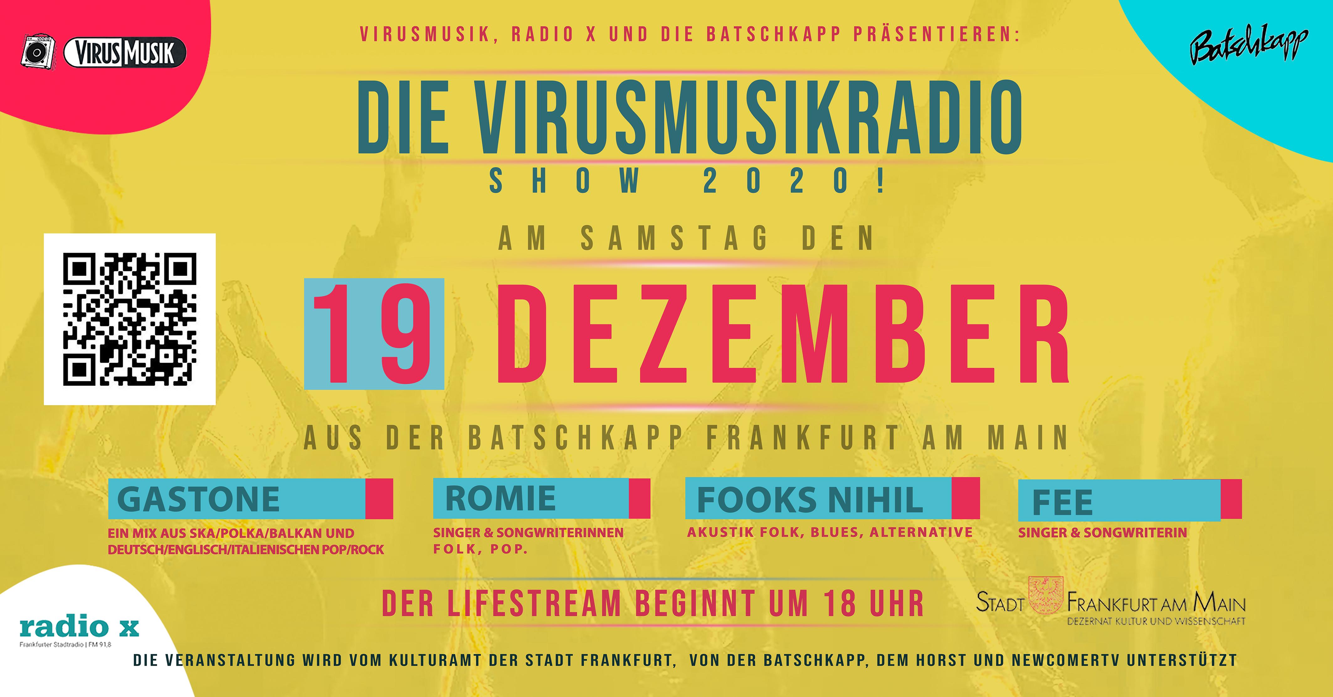 Die VirusMusikRadio Show 2020! In der Batschkapp zu Frankfurt am Main.