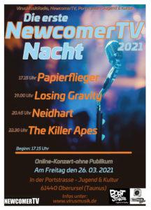 Die erste NewcomerTV Nacht 2021 in der Portstrasse Jugend & Kultur. Online - Konzert! @ Portstrasse Jugend & Kultur