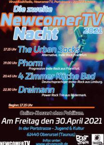 Die zweite NewcomerTV Nacht 2021 in der Portstrasse Jugend & Kultur.