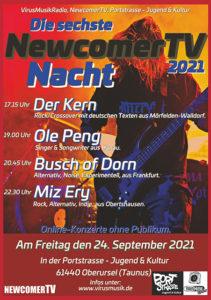 Die sechste NewcomerTV Nacht 2021 in der Portstrasse Jugend & Kultur. @ Portstraße Jugend & Kultur