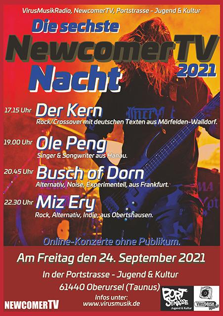 Die sechste NewcomerTV Nacht 2021 in der Portstrasse Jugend & Kultur.