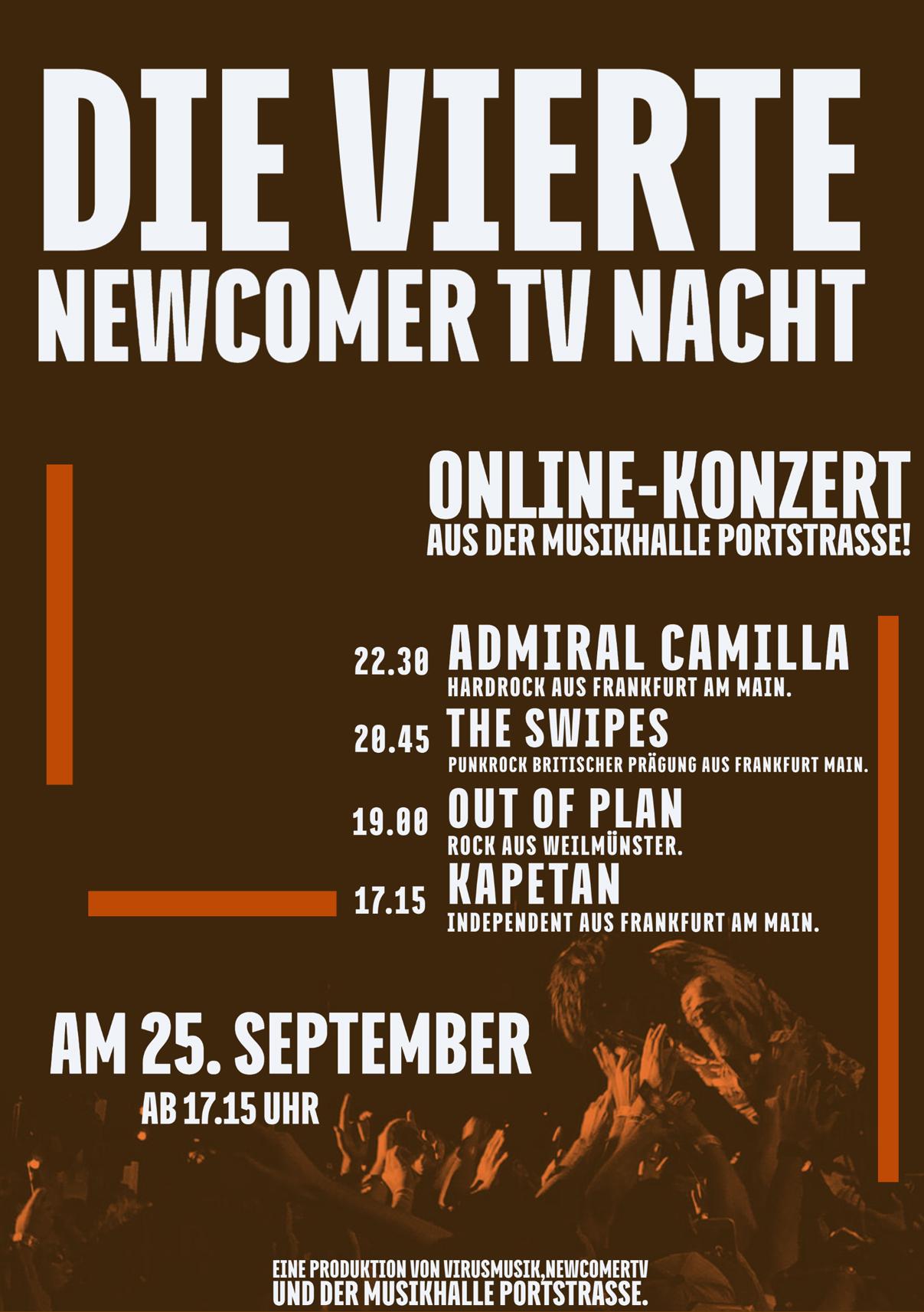 Die vierten NewcomerTV Nacht 2020 in der Musikhalle Portstrasse.